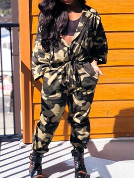 Ericdress Camouflage Lace-Up Women's Jumpsuits