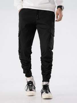 Ericdress PlaiPleated Pocket Mid-Waist Mens Casual Pants