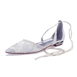 Ericdress Lace-Up Pointed Toe Block Heel Wedding Shoes