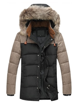 Ericdress Patchwork Thick Fur Hooded Mens Casual Down Jacket