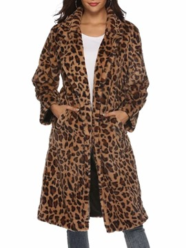 Ericdress Loose Long Leopard Winter Faux Fur Overcoat