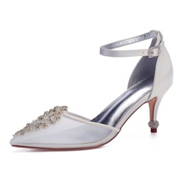 Ericdress Rhinestone Silk Fabric Line-Style Buckle Wedding Shoes
