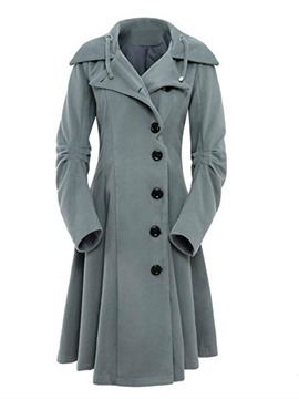 Ericdress Single-Breasted Mid-Length Asymmetric Winter Long Sleeve Trench Coat