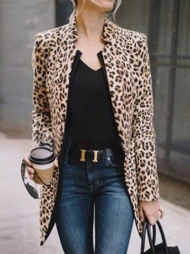 Ericdress Long Sleeve Leopard Single-Breasted Regular Mid-Length Casual Blazer