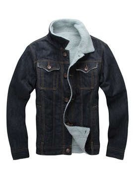 Ericdress Plain Single-Breasted Lapel Mens Winter Casual Denim Jacket