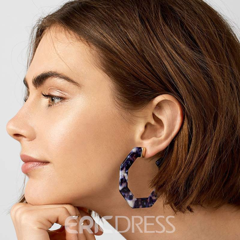 Ericdress Amber Hoop Geometric Earrings
