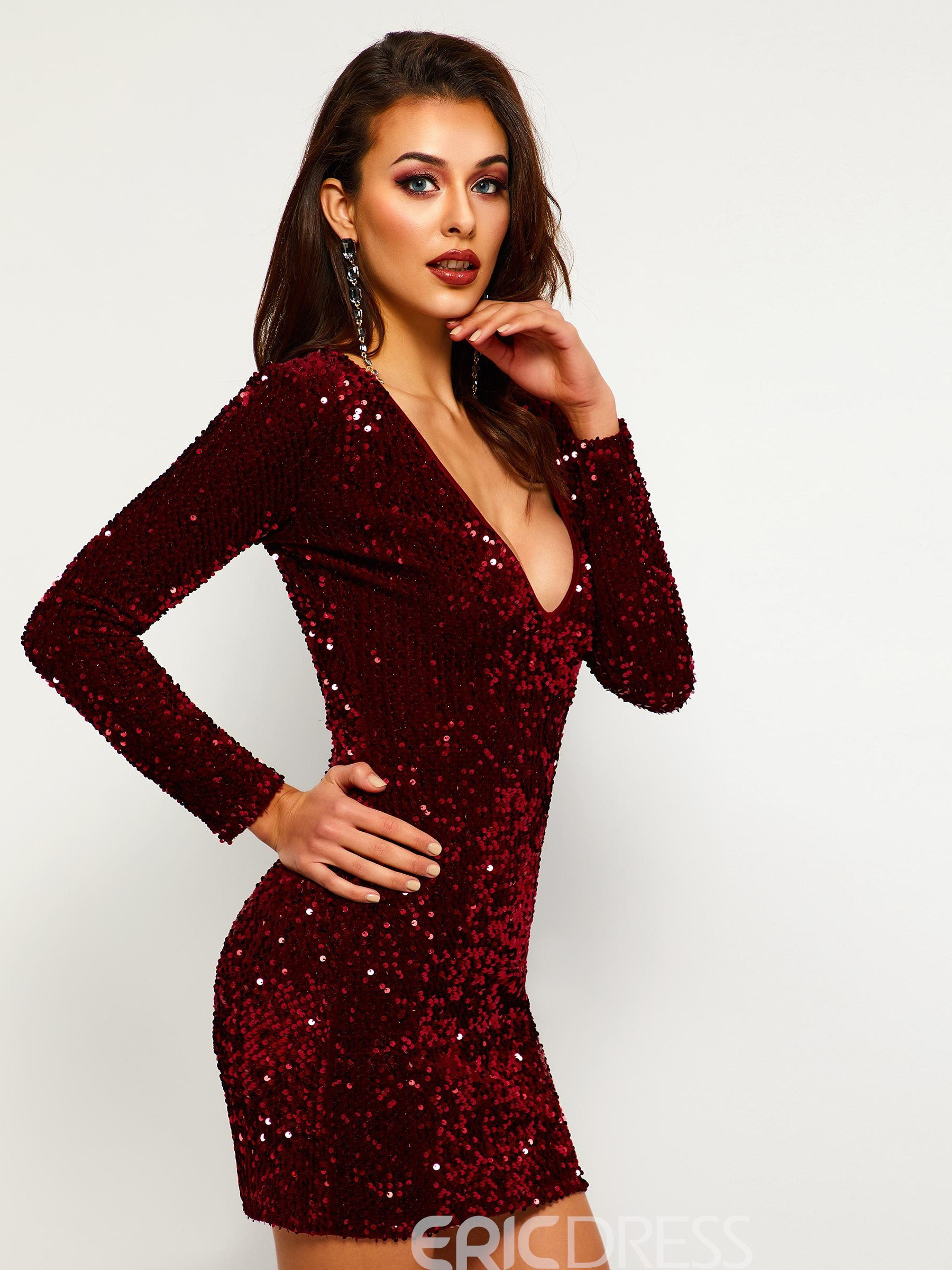 Ericdress V-Neck Sequins Long Sleeve Pullover Bodycon Dress