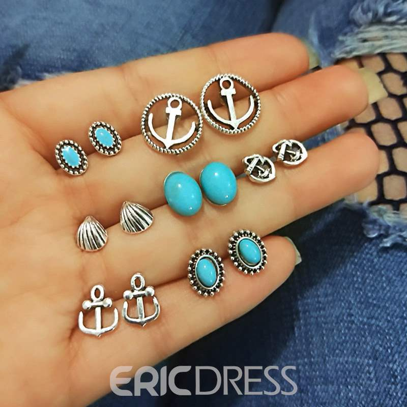 Ericdress Alloy Navy Style Earrings Set