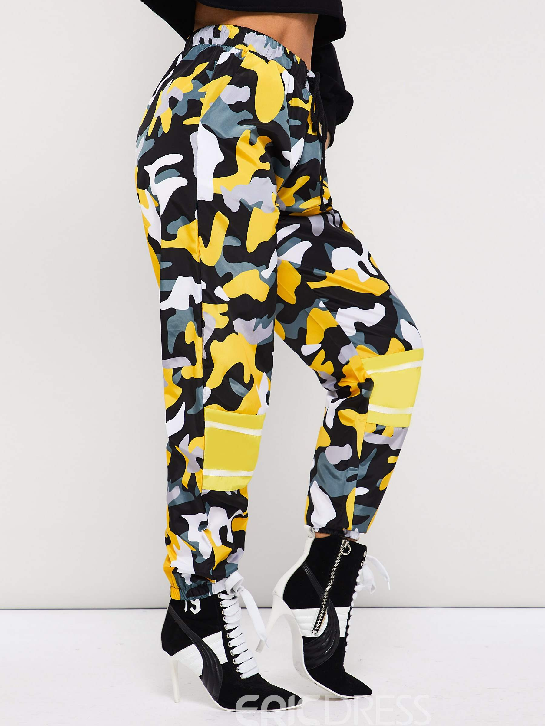 Ericdress Camouflage Loose Color Block Full Length Harem Pants