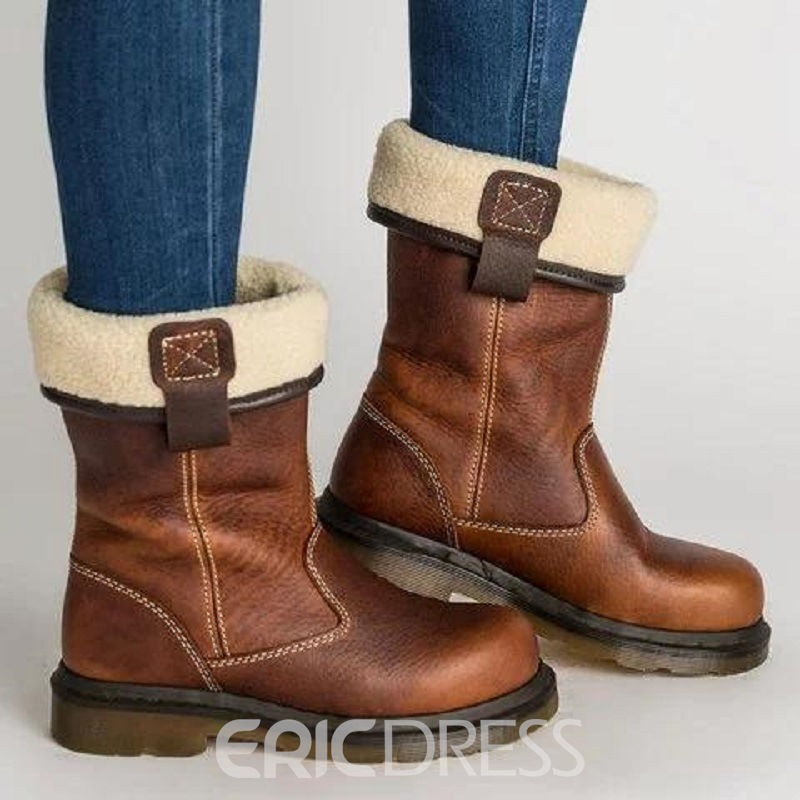 f154a3158f3 Ericdress Slip-On Round Toe Block Heel Women s Snow Boots 13654933 ...