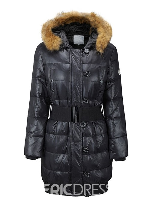 Ericdress Single-Breasted Button Straight Mid-Length Cotton Padded Jacket