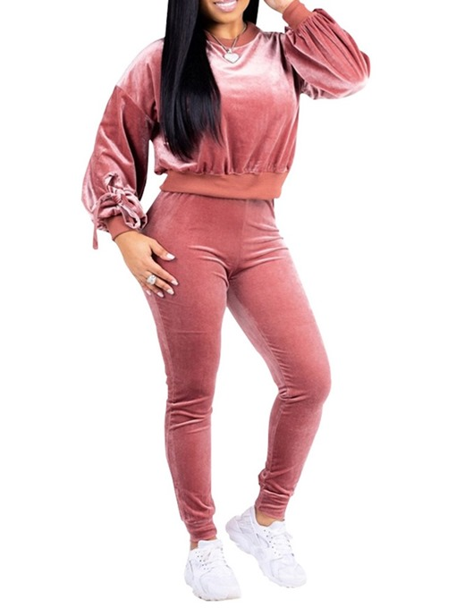 Ericdress Flannel Plain Casual Round Neck Hoodie and Pants Women's Two Piece Sets