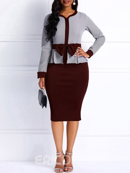 Ericdress Bodycon Long Sleeves Color Block Women's Dress