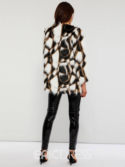 Ericdress Mid-Length Color Block Round Neck One Button Winter Faux Fur Overcoat