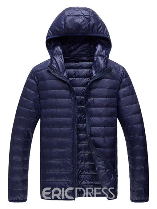 Ericdress Plain Lightweight Hooded Mens Casual Down Jacket