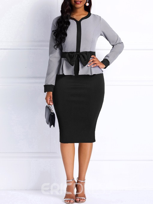 Ericdress Bodycon Long Sleeves Color Block Office Lady Women's Dress