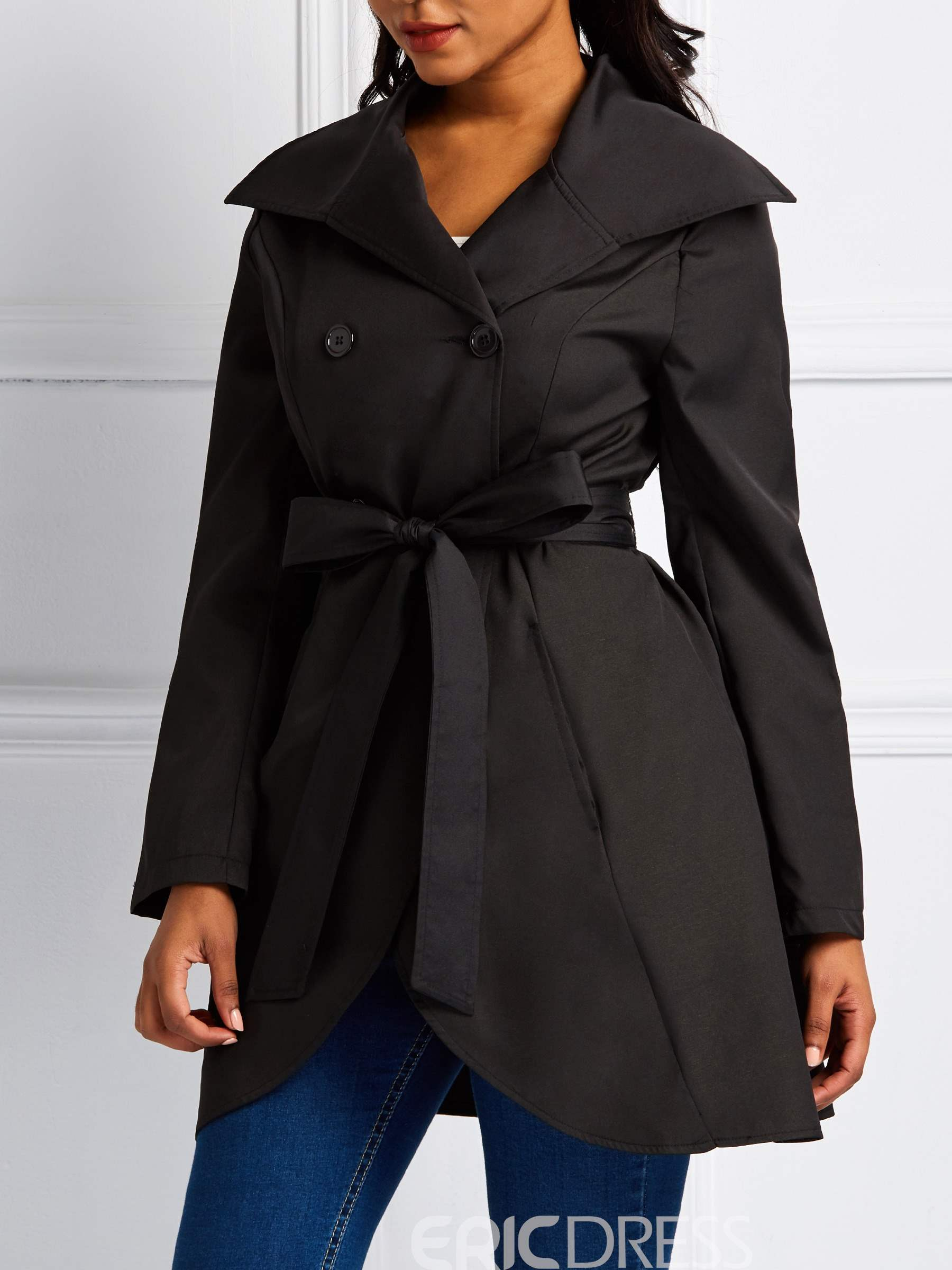 Ericdress Lace-Up Mid-Length Double-Breasted Long Sleeve Casual Trench Coat