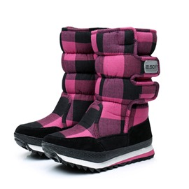 Ericdress Plaid Velcro Waterproof Platform Women's Snow Boots