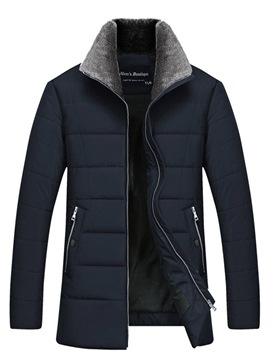 Ericdress Plain Straight Fur Collar Mens Casual Quilted Coats