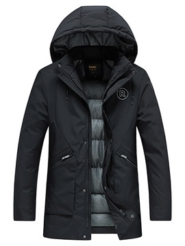 Ericdress Plain Hooded Thick Mid-Length Mens Zipper Quilted Coats