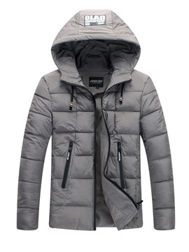Ericdress Plain Hooded Pocket Zipper Mens Casual Down Jacket