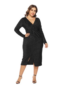 Ericdress Plus Size Long Sleeve V-Neck Split Pullover Fall Dress