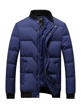 Ericdress Plain Stand Collar Thick Zipper Button Mens Quilted Coats