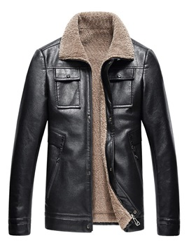 Ericdress Plain Lapel Zipper Pocket Mens Casual Leather Jacket