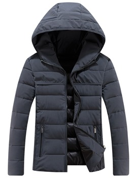Ericdress Thick Plain Casual Zipper Mens Down Jacket