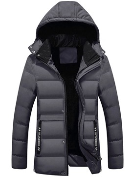 Ericdress Plain Thick Zipper Mens Quilted Coats