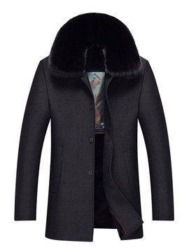Ericdress Plain Lapel Fur Collar Straight Single-Breasted Mens Wool Coat