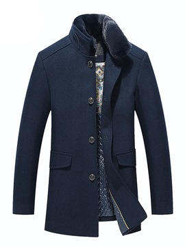 Ericdress Plain Fur Collar Straight Single-Breasted Mens Wool Coats