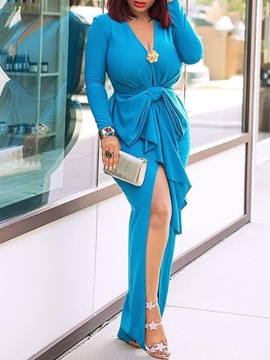 Ericdress Floor-Length Long Sleeve V Neck Pleated Dress