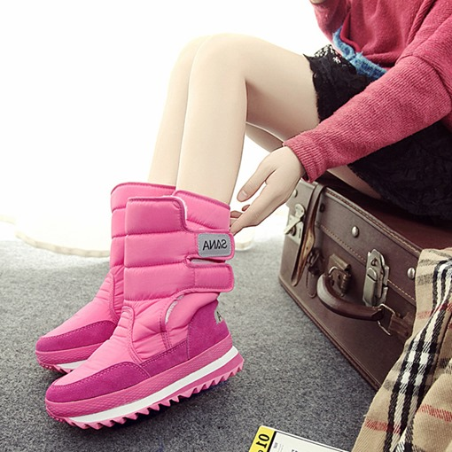Ericdress Velcro Plain Round Toe Waterproof Women's Snow Boots