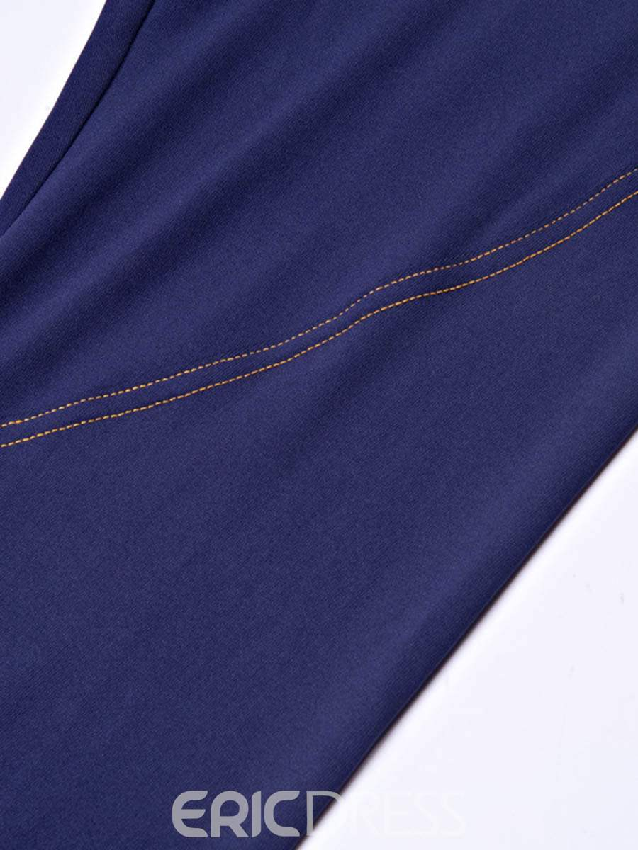 Ericdress Thermal Solid Cotton Pockets Ping-Pong Full Length Leggings