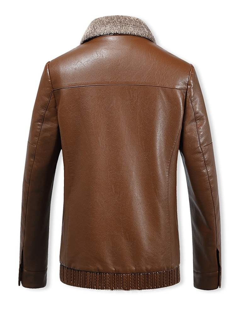 Ericdress Plain Cashmere Lining Zipper Straight Mens Leather Jacket