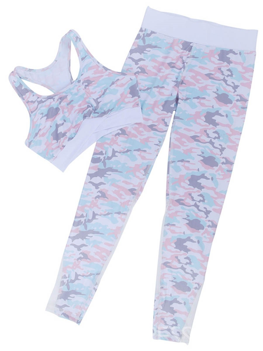 Ericdress Anti-Sweat Camouflage Patchwork Full Length Sports Sets