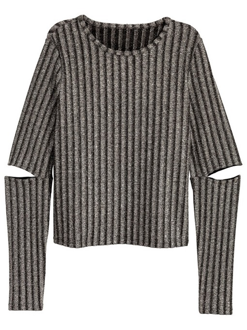Ericdress Hole Stripe Plus Size Round Neck Sweater