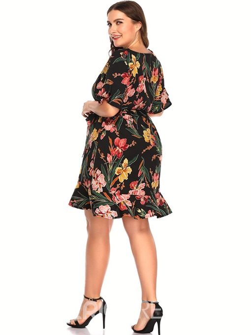 Ericdress Plus Size V-Neck Above Knee Stringy Selvedge Pullover A-Line Dress