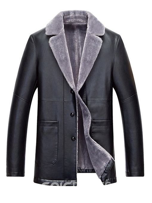 Ericdress Plain Straight Button Cashmere Lining Mens Casual Leather Jacket