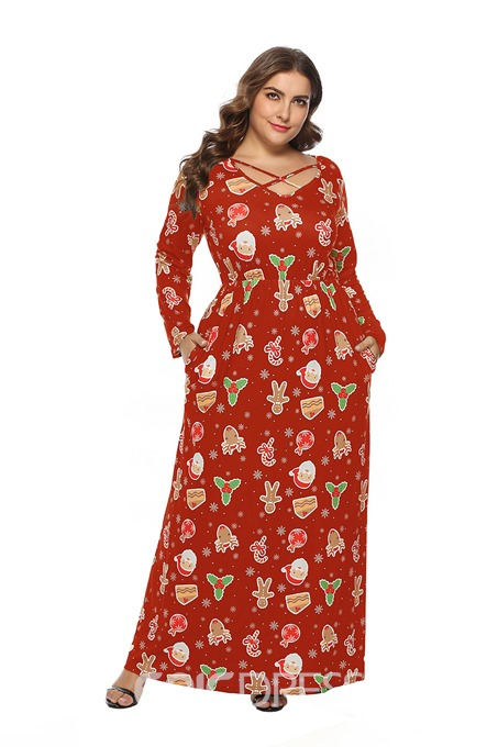 Ericdress Plus Size Floor-Length Print Long Sleeve Pullover Cartoon Dress