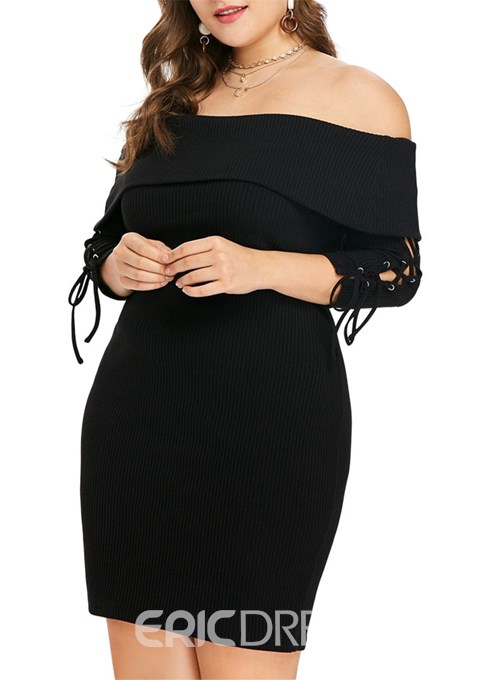 Ericdress Above Knee Three-Quarter Sleeve Off Shoulder Pullover Plus Size Dress