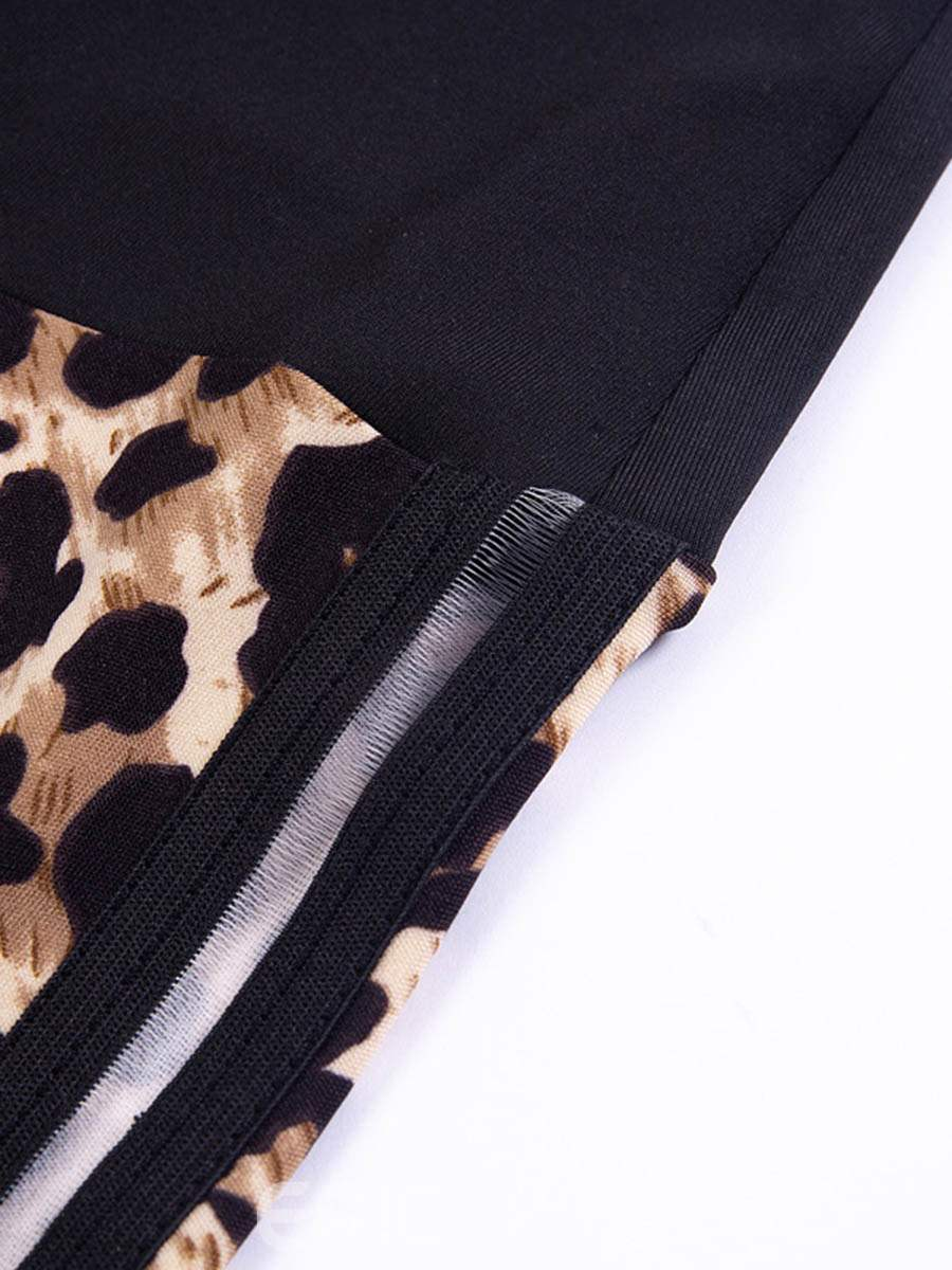 Ericdress Anti-Sweat Leopard Patchwork Basketball Leggings