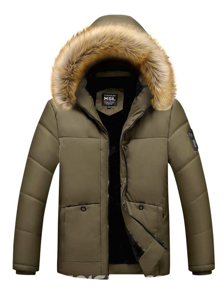 Ericdress Plain Thick Fur Hooded Zipper Mens Casual Quilted Coats