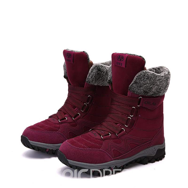 Ericdress Lace-Up Front Round Toe Women's Snow Boots