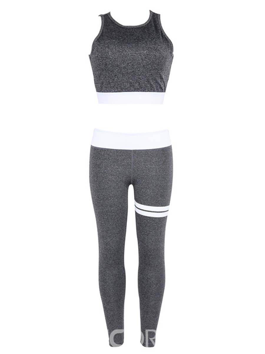 Ericdress Print Color Block Breathable Pullover Sleeveless Sports Sets