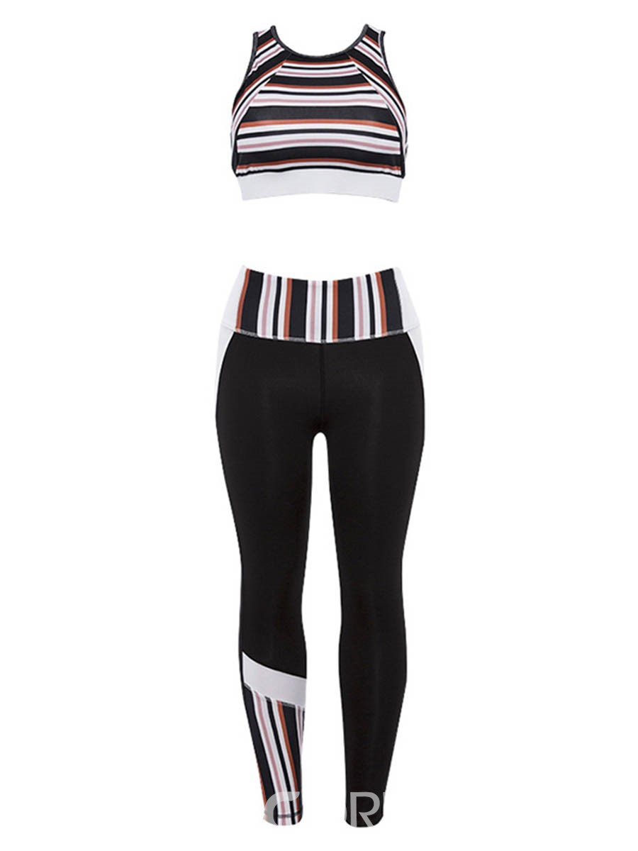 Ericdress Stripe Print Quick Dry Sleeveless Pullover Sports Sets