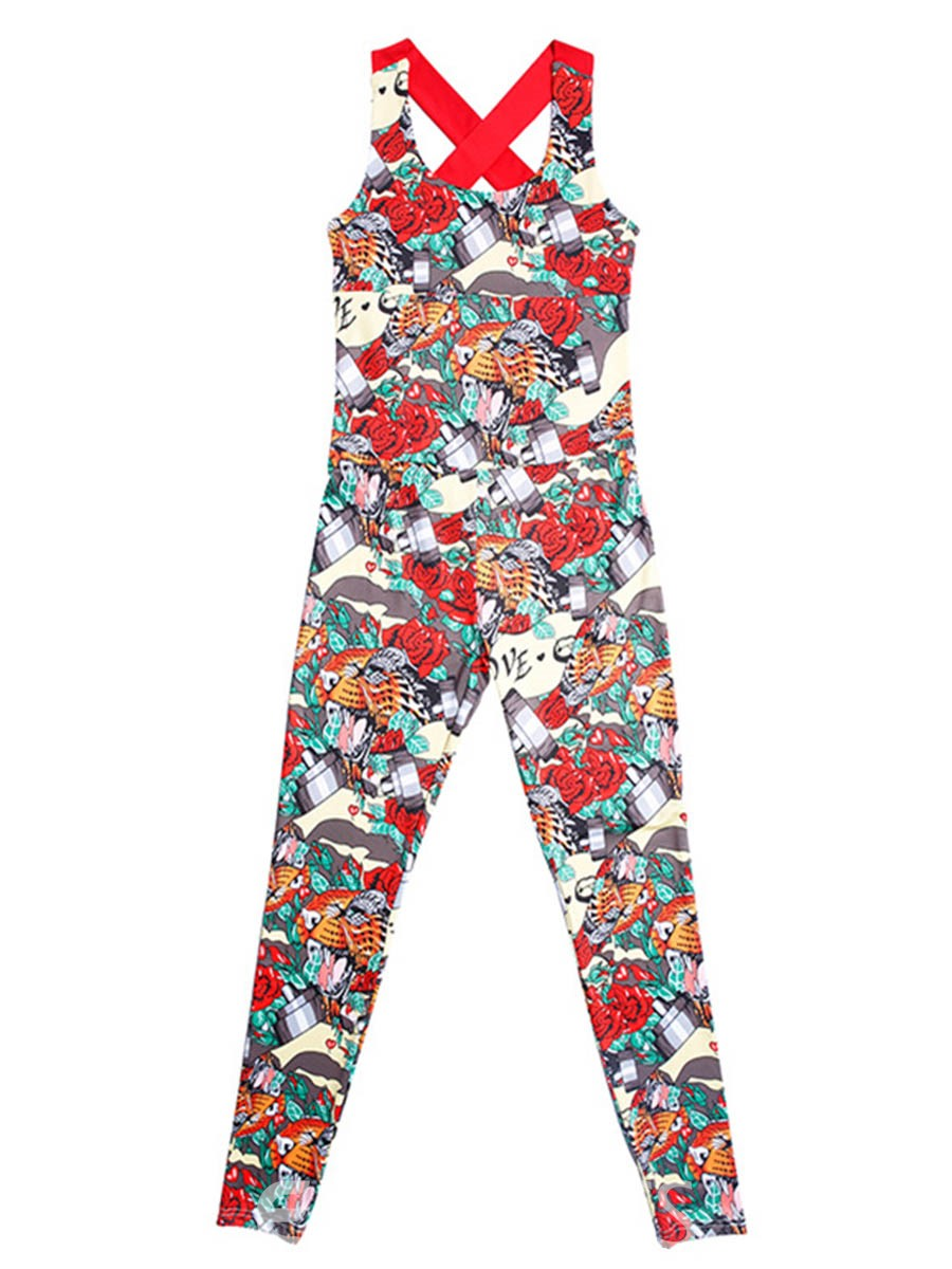 Ericdress Women Floral Breathable Print Full Length Yoga Jumpsuits