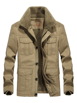 Ericdress Plain Lapel Pocket Cashmere Lining Mens Casual Jacket