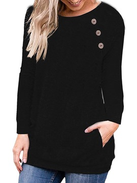 Ericdress Round Neck Long Sleeve Plain Loose Fall T-Shirt